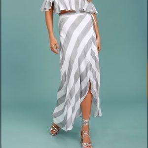 Lulu's Golden Sunset Striped Wrap Maxi Skirt, XS
